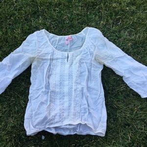 Boho white blouse top